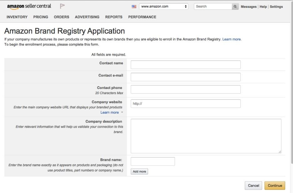 Amazon Brand Registry Application Form