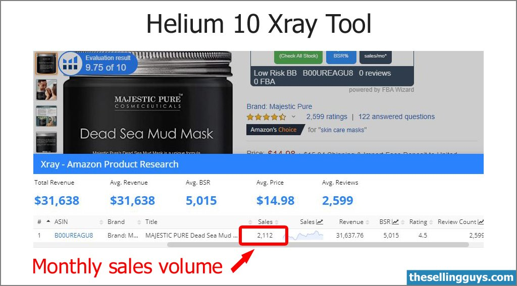 Helium 10 Xray Tool to find Monthly Sales data