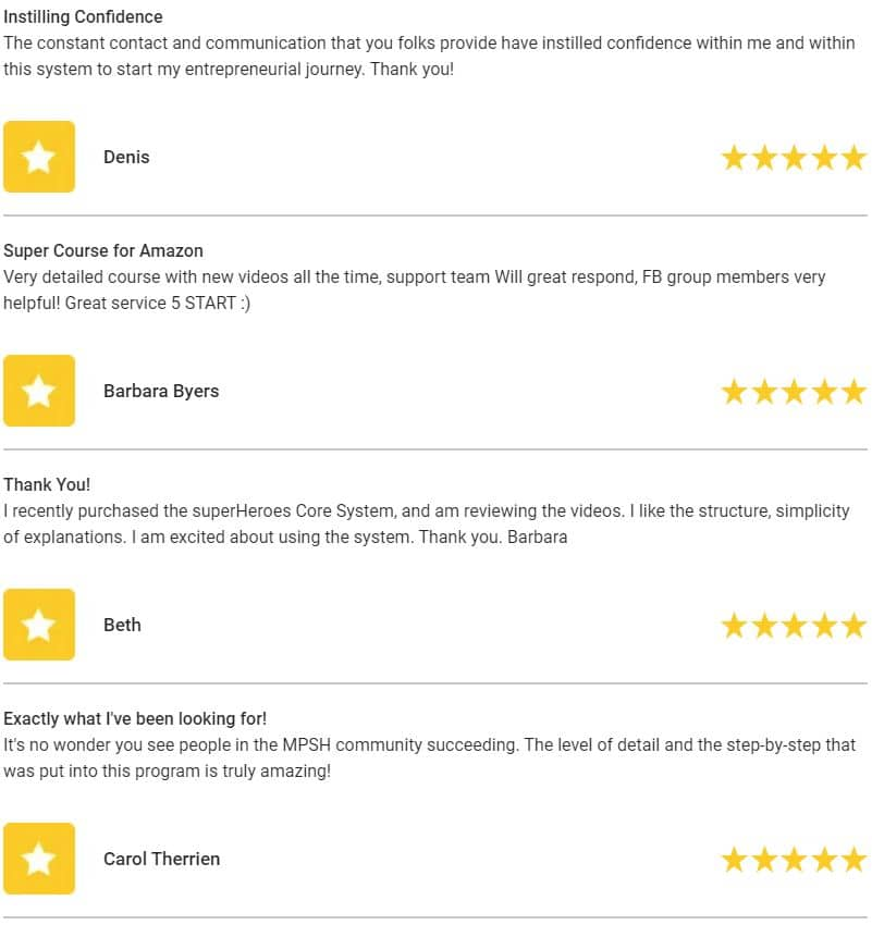 Marketplace Superheroes Course Reviews