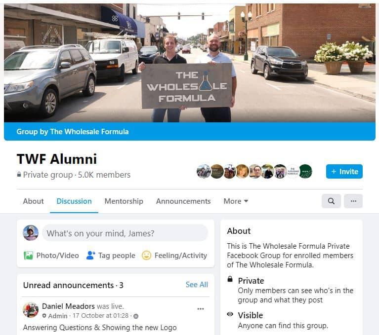 The Wholesale Formula Exclusive Alumni Facebook Group