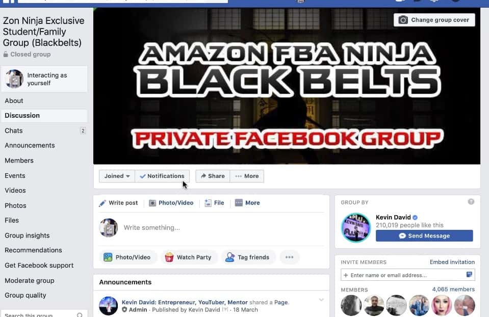 Zon Ninja Blackbelt Facebook Group