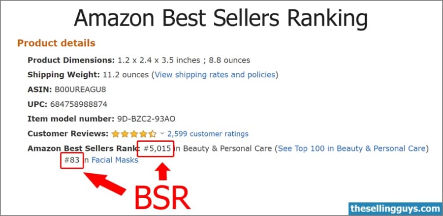 Example of the Amazon Product Best Sellers Rank data