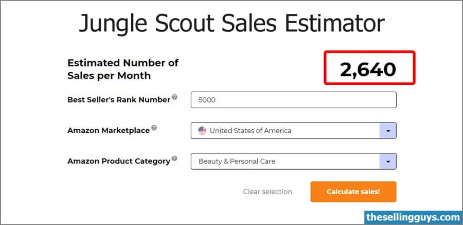 Jungle Scout Estimator - get monthly sales data for Amazon products